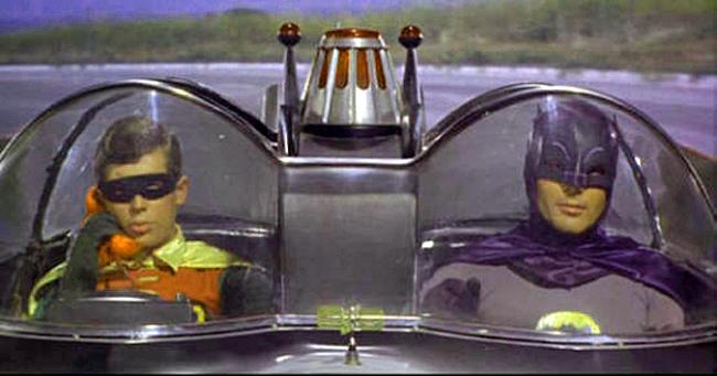 Batman and Robin in Batmobile