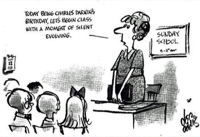 Cartoon about Darwin Day in Sunday School