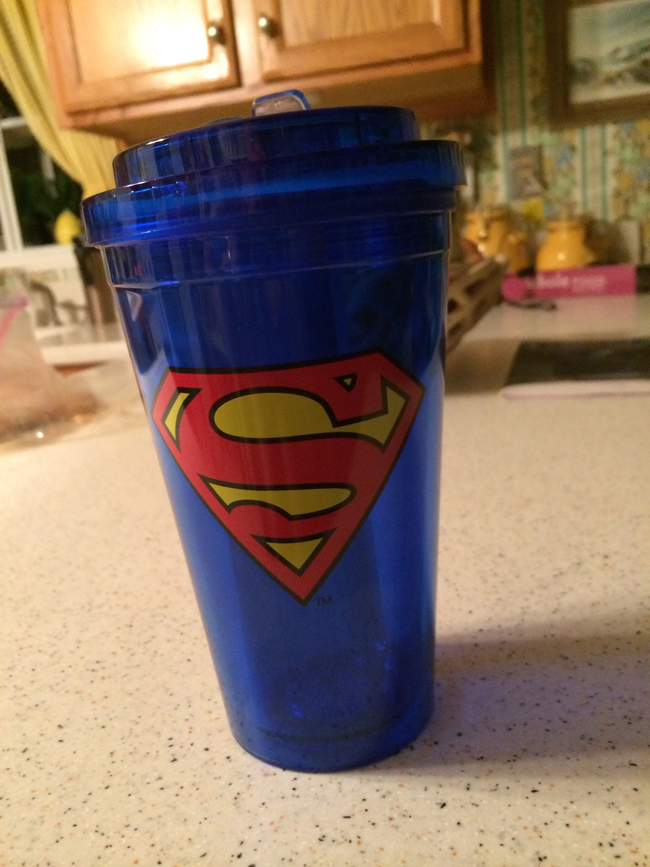 Superman plastic cup with lid and straw