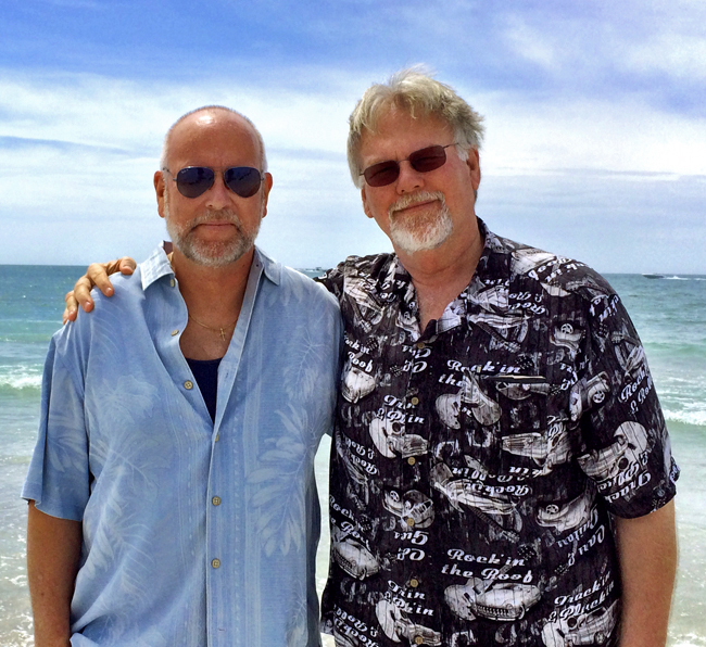 "Mark and I as ""The Boys Are Back in Town"" played in the background on Clearwater Beach."