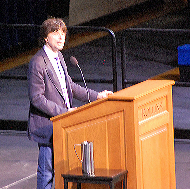 Close up of Ken Burns speaking at Rollins College