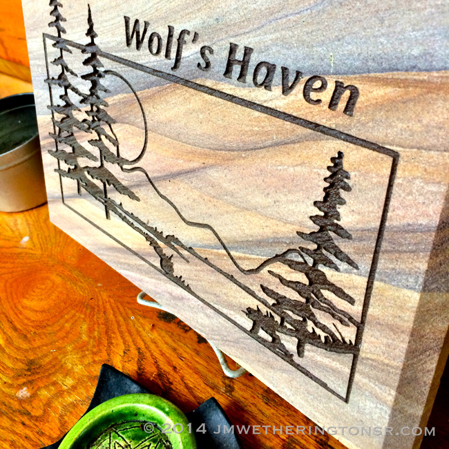 Wolf's Haven plaque on our deck.