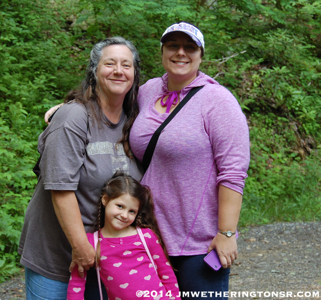Cindy, Amber and Abby as we prepare to hike up to the lake.