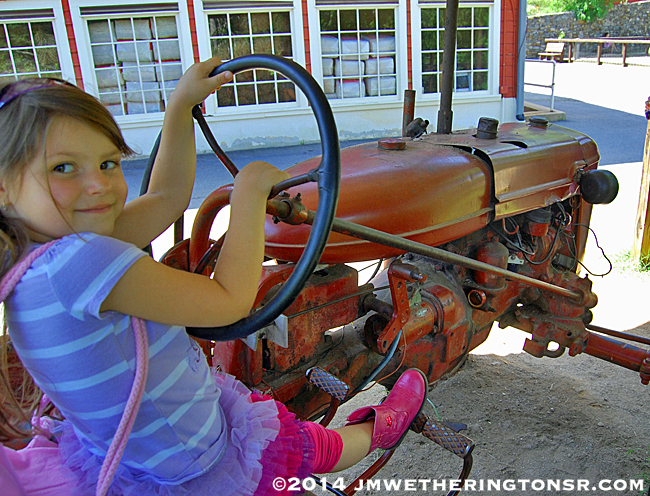 Abby, ready to plow a field with this tractor.