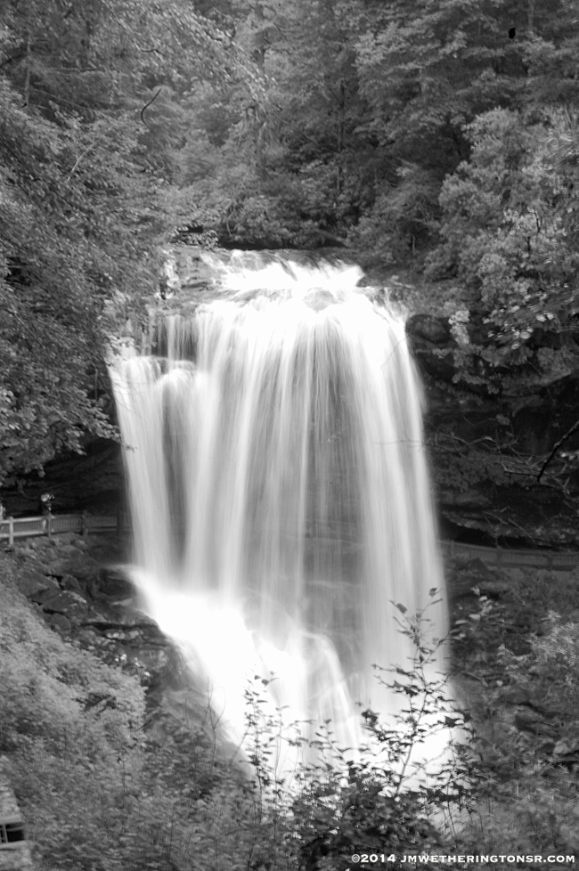 Just playing around by doing a black and white version with a slow shutter speed to make the falling water look smoother.