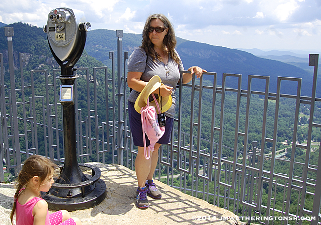 Grandma and Abby standing at the top of Chimney Rock.