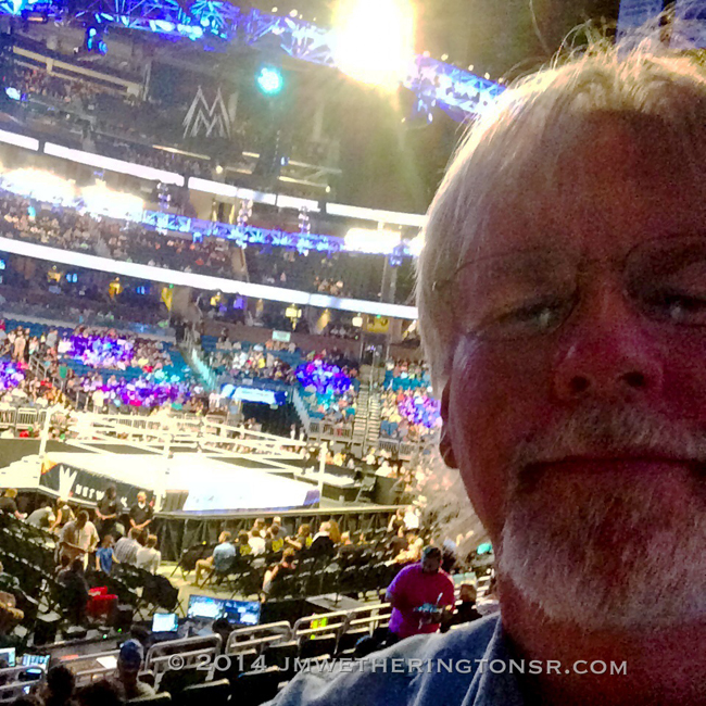 Me with the WWE wrestling ring in the background, before the show started.