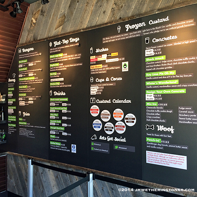 The Menu Board at Shake Shack in Winter Park, Florida