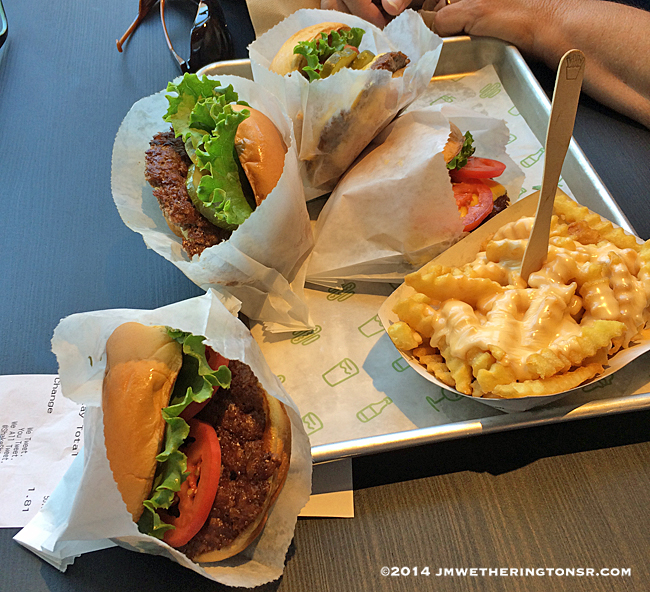 Burgers and Cheesy Fries at Shake Shack in Winter Park, Florida.