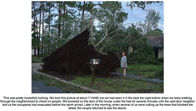Cindy standing by root base of tree uprooted by Hurricane Charley.