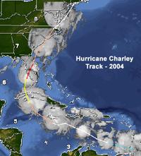 Map of Hurricane Charley track