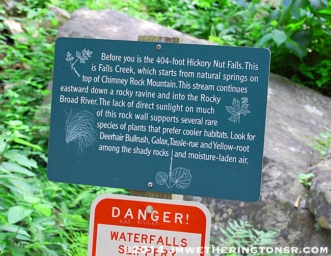 Sign at Hickory Nut Falls on Chimney Rock
