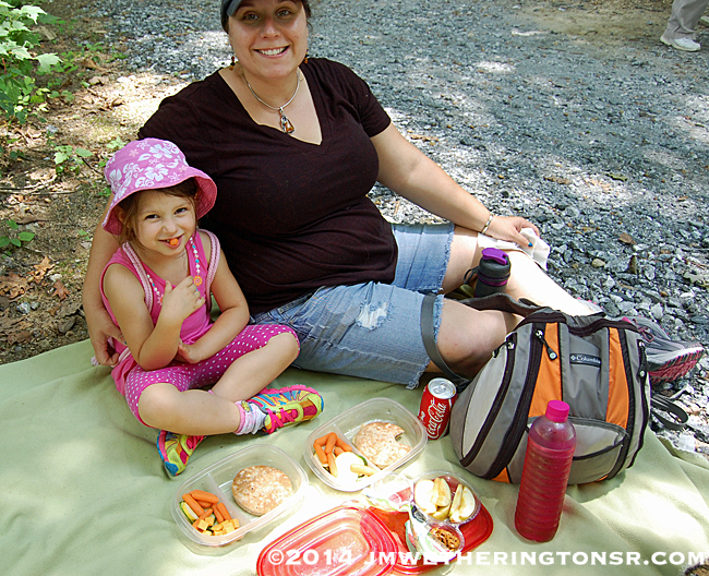 We stopped along the side of the trail to enjoy a picnic lunch that Cindy had prepared. The ants and spiders were happy to join us.