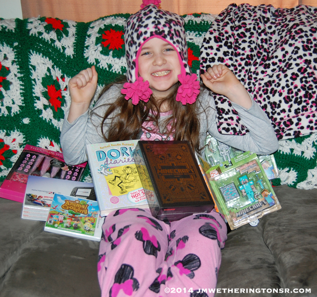 Heather with Christmas gifts.