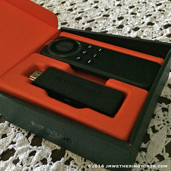 Amazon Fire TV Stick in opened box