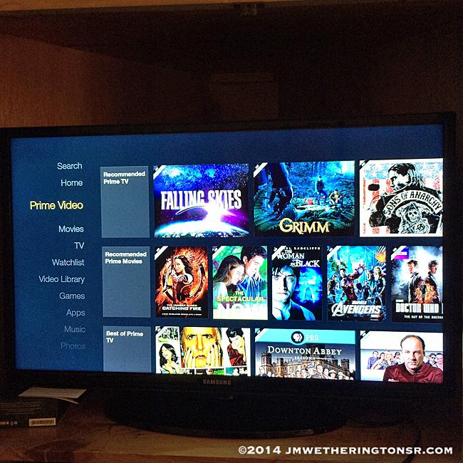 Amazon Fire TV Stick screen on TV