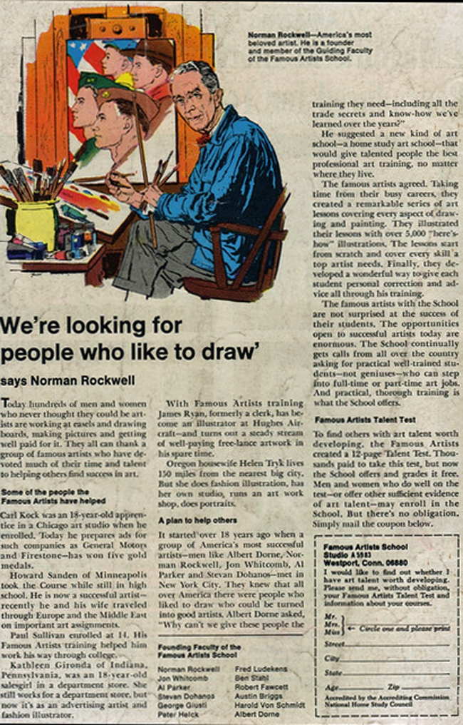 Famous Artists School ad with Norman Rockwell