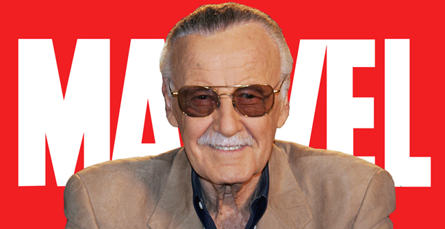 Stan Lee with Marvel logo background