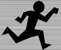 jogging figure in outline