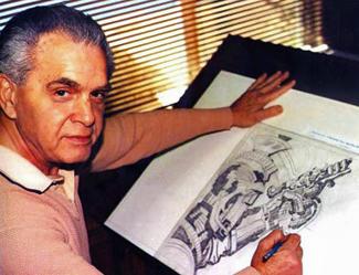 Jack Kirby at drawing board