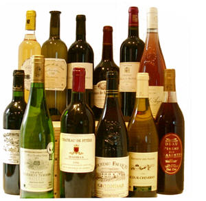 Bottles of French Wines