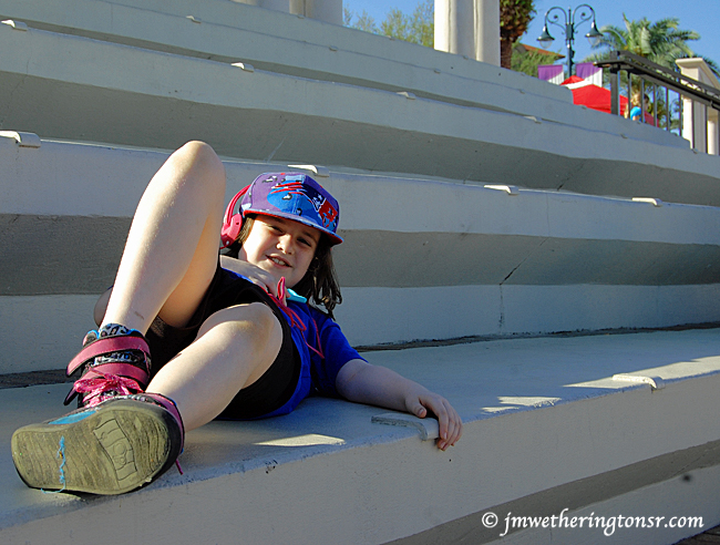 Heather lying on steps