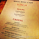 White Wolf Cafe Menu