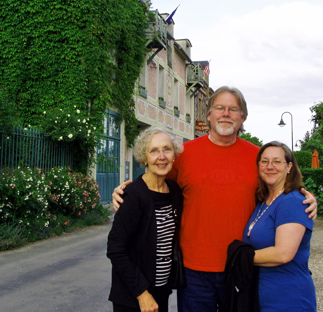 Cindy's mom, me and Cindy in Giverny, France/