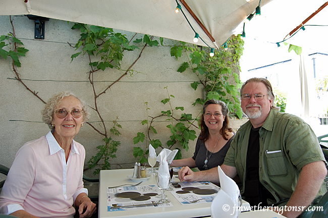 Cindy, her mom and yours truly at an outdoor cafe in Azay-le-Rideau, France.