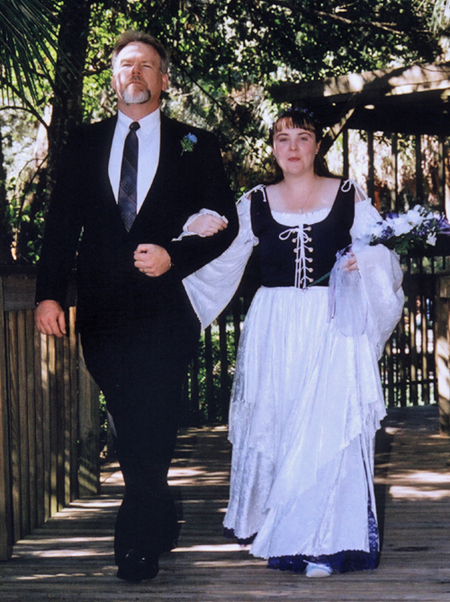 Walking Ann down the aisle at her wedding.