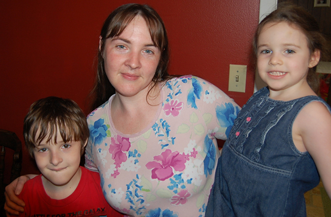 Ann in 2010 at the age of 35 with 9-year old Mikey and 5-year old Heather.