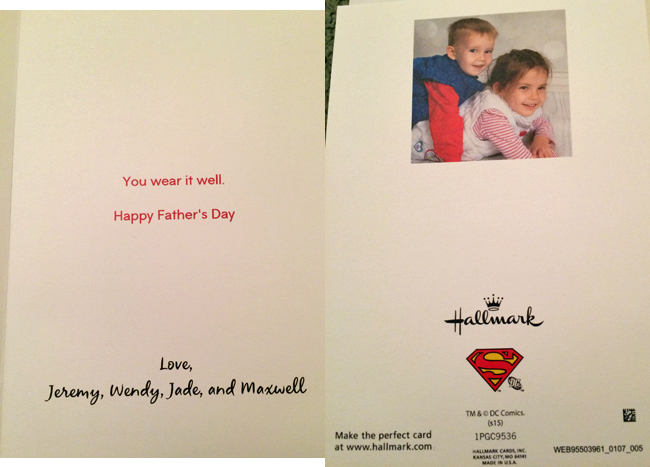 Father's Day card, inside right and back of card from Wendy, Jeremy, Jade and Maxwell.
