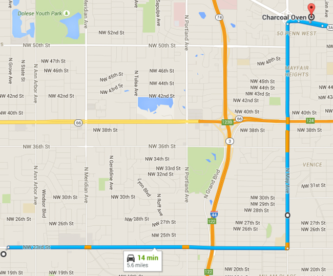 Map showing miles between apartment complex and restaurant.
