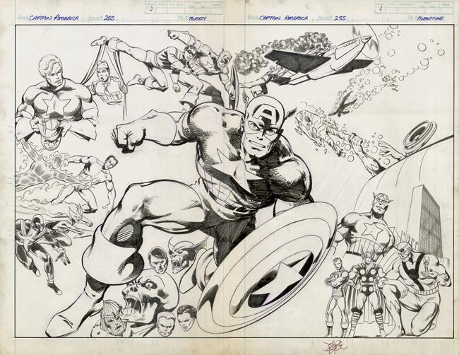 Captain America spread by John Byrne
