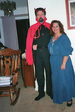 Jeff as Satan and Cindy as a wench.