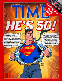 Cover of Time Magazine featuring Superman by John Byrne