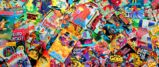 Pile of comic books spread out