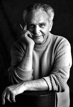 Jack Kirby, black and white portrait