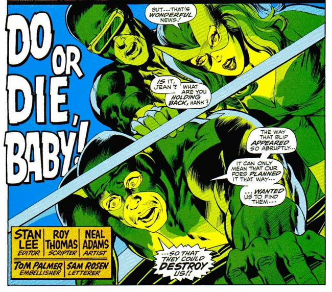 X-Men splash page by Neal Adams