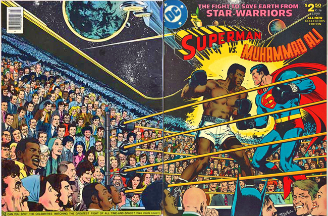 Wraparound cover of Superman vs Muhammad Ali by Neal Adams