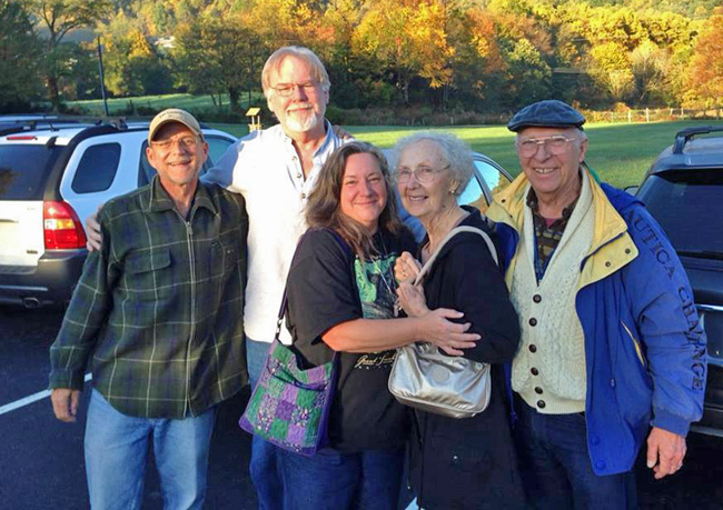 From left to right: Art, me, Cindy, Cindy's mom and dad, in the parking lot of Joey's Pancake House, October, 2014.