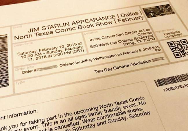 North Texas Comic Book Show ticket