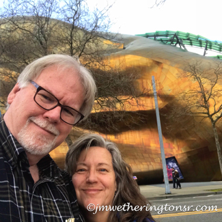 Cindy and Jeff outside the Museum of Pop Culture