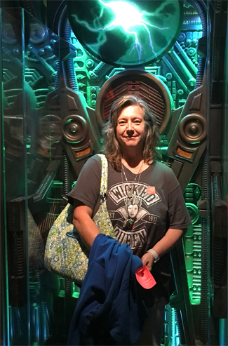 Cindy in the Borg Regeneration Alcove at Museum of Pop Culture