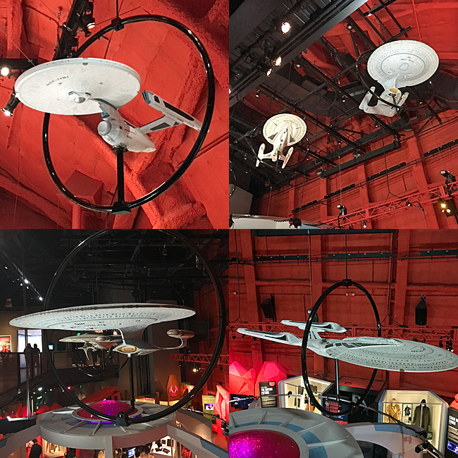 Various Star Trek starships on display at the Museum of Pop Culture