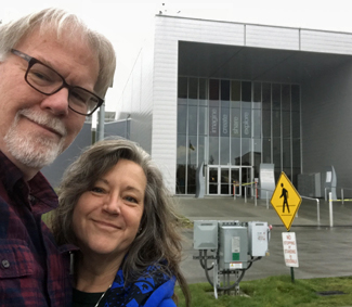 Cindy and jeff in front of the Visitors Center for Future of Flight