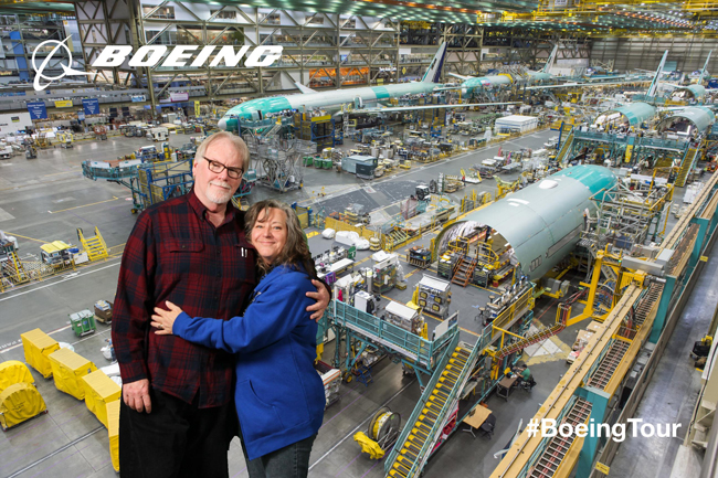 Cindy and Jeff at the Boeing Future of Flight tour