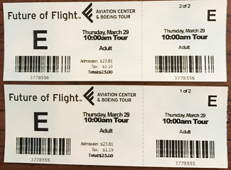 Our tickets to Boeing Future of Flight