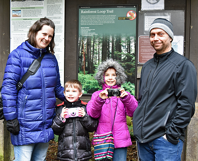 Jeremy, Wendy, Jade, and Maxwell at the Rainforest Loop trailhead.