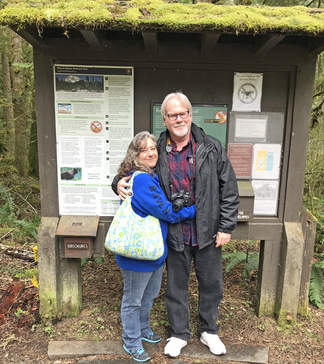 Cindy and Jeff at the Rainforest Loop trailhead.